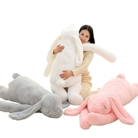 Dorimytrader Lovely Large 120cm Soft Cartoon Big Ear Bunny Plush Toy 47'' Giant Animal Rabbit Stuffed Pillow Girl Doll DY60395
