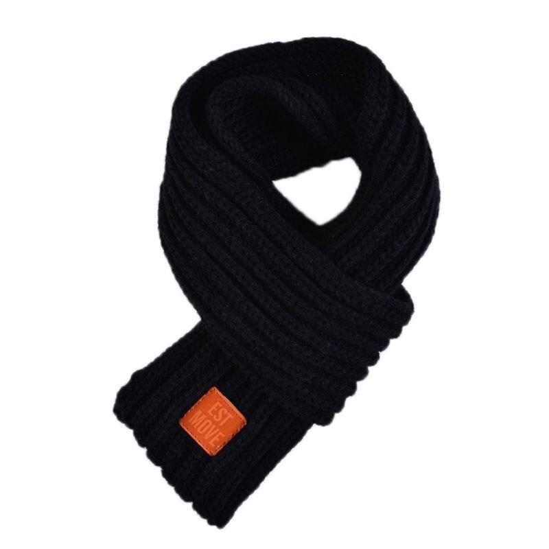 Детский вязаный шарф из акрилового волокна для мальчиков и девочек, плотная зимняя теплая шаль для шеи, шарфы с резиновыми буквами - Цвет: Черный