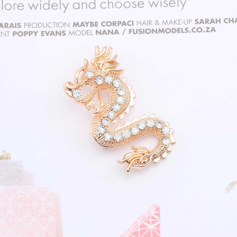 Fashion Pria dan Wanita Bros Gaya Cina Emas dan Perak Kristal Zodiac Dragon Bros untuk Wanita Logam Lencana Kerah Jarum hadiah