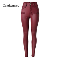 CamKemsey Wine Red Zipper PU Leather Pants Women Sexy Bodycon High Waist Faux Leather Pants Female Stretch Skinny Trousers