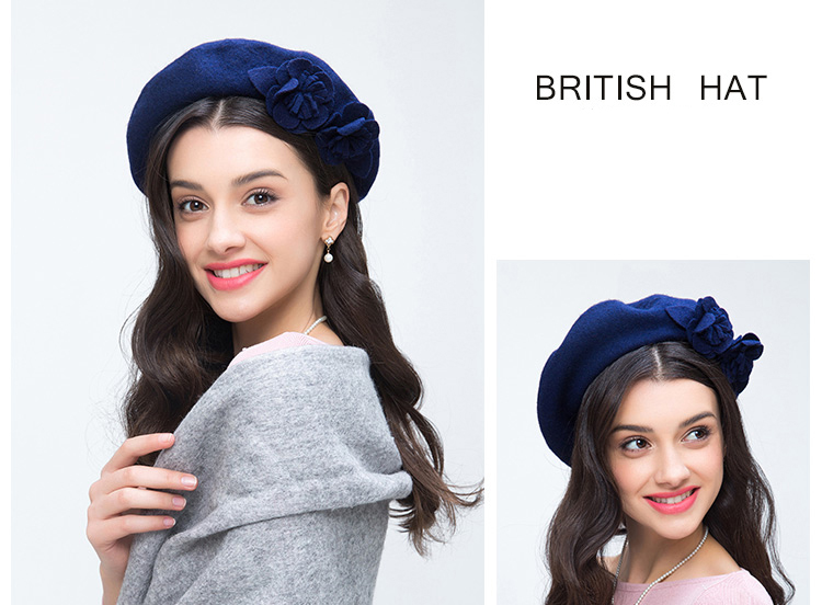 FS real azul 100% boinas de lana para las mujeres artista francés ... 6fb49961ba0
