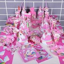 Unicorn Theme Unicornio Disposable Tableware Decor Supplies Birthday Party Decoration Kids Adults Favors Pink