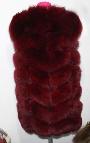 Linhaoshengyue 73 см длинные Высокое качество меха лисы Жилет натуральным лисьим мехом женские жилет - Цвет: wine red