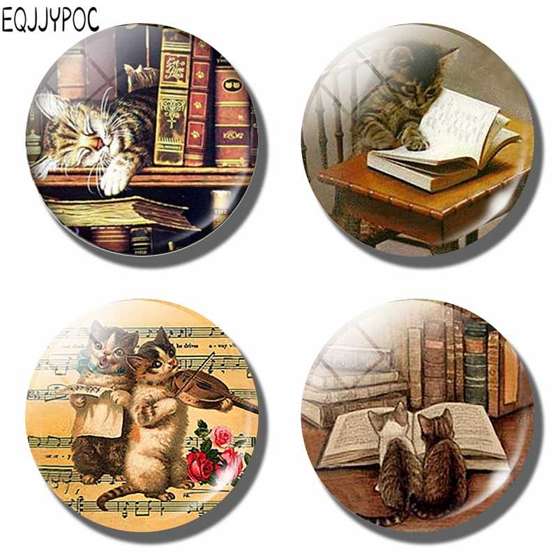 Cute Cat with Books Refrigerator Magnet Kitten 30MM Glass Dome Fridge Memo Magnetic Stickers Cute Home Decor Kitchen Accessories