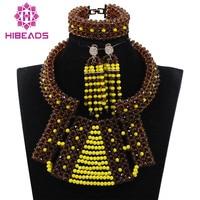 Fabulous Chocolate Brown And Yellow Bib Statement Crystal Jewelry Set Nigerian Wedding Beads Jewelry Set QW1062