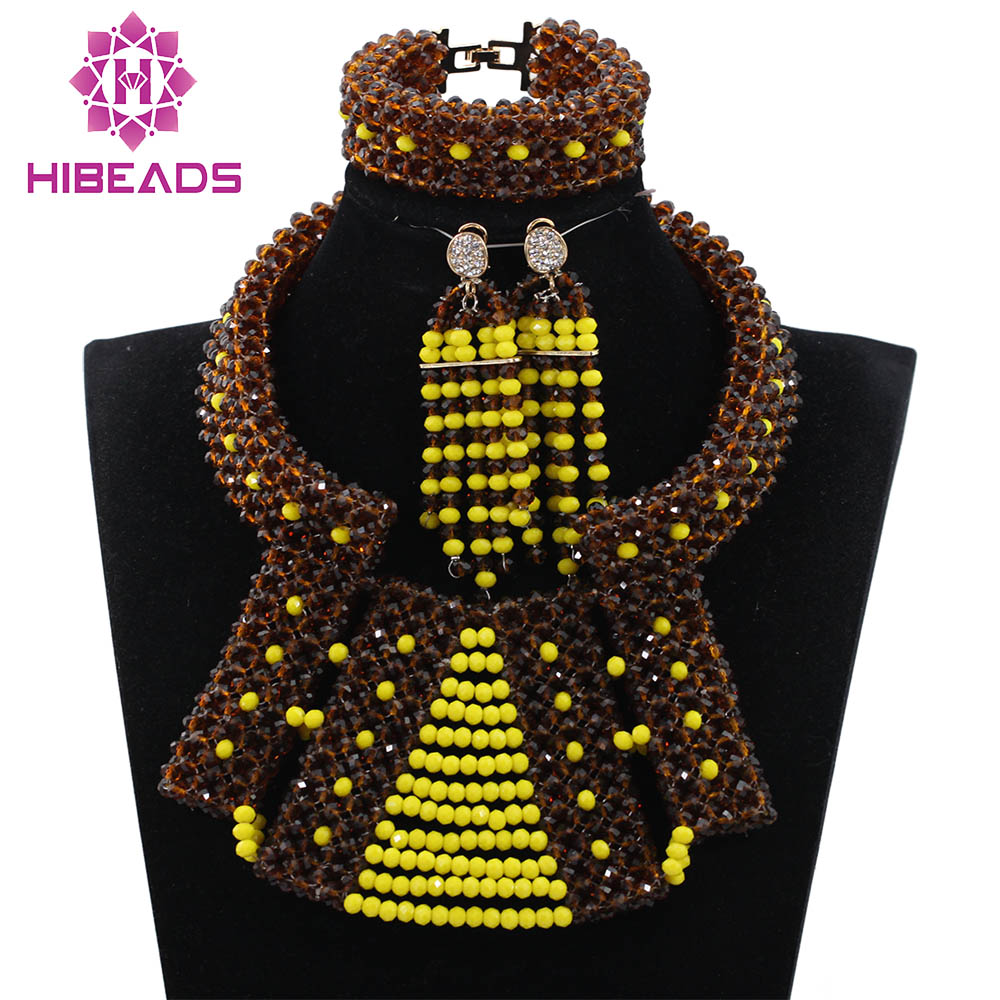 Fabulous Chocolate Brown and Yellow Bib Statement Crystal Jewelry Set Nigerian Wedding Beads Jewelry Set QW1062 аксессуар заспинный колчан bowmaster tento ref yellow brown 277