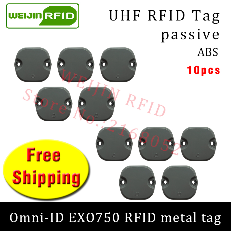 UHF RFID metal tag omni-ID EXO750 915m 868mhz Impinj Monza4QT 10pcs free shipping durable ABS smart card passive RFID tags uhf rfid anti metal tag omni id adept 500 915m 868m gas cylinder management alien higgs3 epcc1g2 6c smart card passive rfid tags