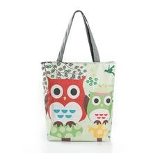 Cartoon Cute Owl Printed Shoulder Bag Women Large Capacity Female Shopping Bag Canvas Tote Handbag Summer Beach Bag Ladies 1PCS