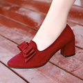 New Sweet Spring Autumen Dress Women Pumps Slip On Square High Heels Pointed Toe Shoes For Woman Black Blue Red Plus Size 40 41