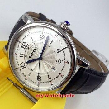 큰 판매 세련된 43mm debert 화이트 다이얼 블루 손 자동 망 손목 시계 d3