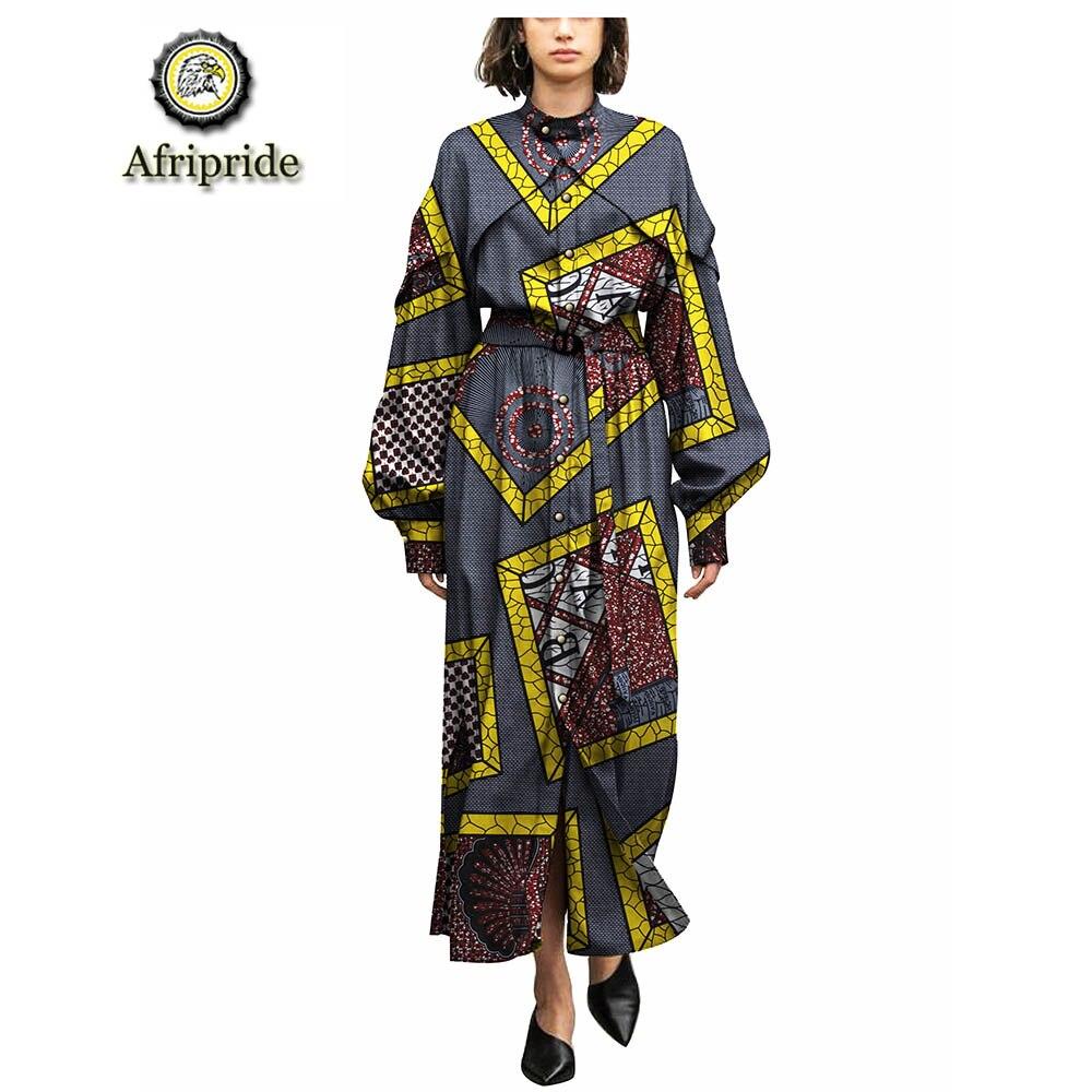 2019 afrykańskie stroje dla kobiet AFRIPRIDE czystej bawełny ankara drukuj dashiki bazin riche sukienka wosk batik prywatne niestandardowe S1825086 w Suknie od Odzież damska na  Grupa 3