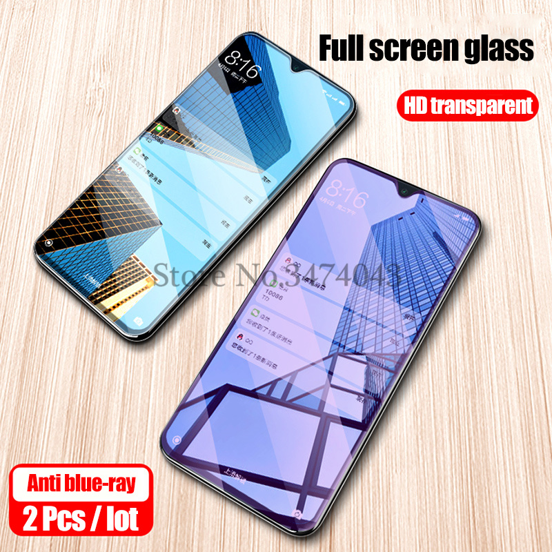 2Pcs 9H Tempered Glass For Xiaomi Mi A3 A2 Lite Screen Protector Anti Blue Light Glass For Xiaomi Mi A2 A3 Lite Protective Film
