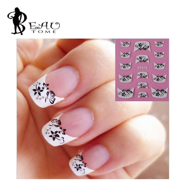 Beautome 1sheet French Style 3D Design Nail Art Stickers Transfers ...