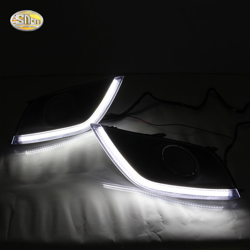 SNCN Led Daytime Running Lights for Nissan Versa Sunny 2014 2015 2016 2017 fog lamp cover drl with yellow turn signal lights okeen car flashing led daytime running lights for ford f150 2009 2014 fog lamp cover 12v abs drl with yellow turn signal lights