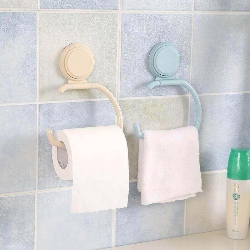 Bathroom Toilet Paper Holders Hanging Holder Organizer Towel Hanger Rack Bath Roll Paper Storage Shelf Sucker Wall Mounted