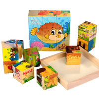 9 Pieces Of Wood Face Painting Children S Baby 3D Building Blocks Early Intelligence Toys 1