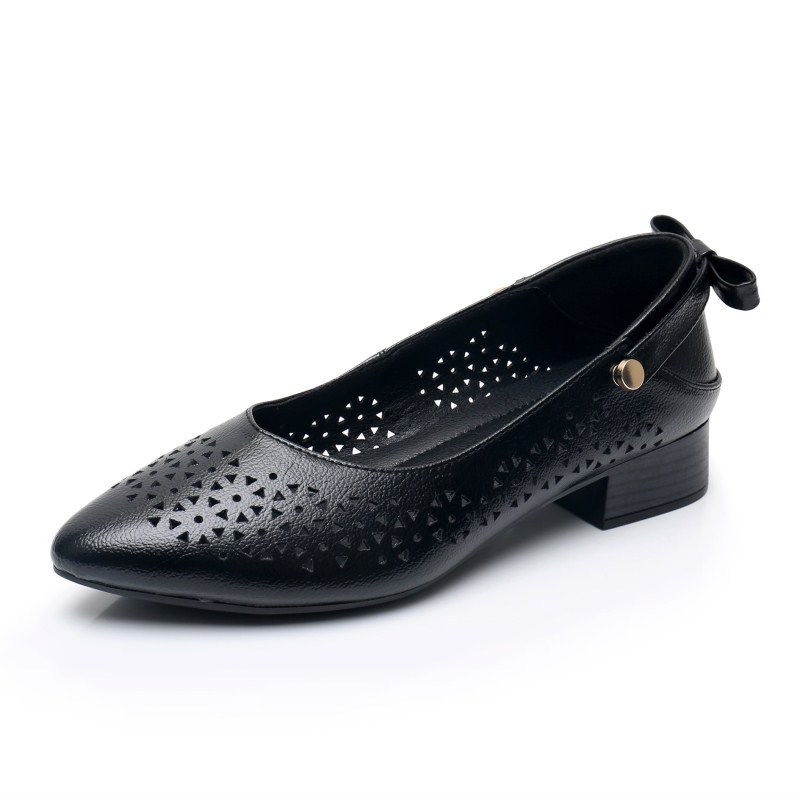 Women Summer Hole Hollow Out Genuine Leather Shoe Ladies S Slip On Shoes Real Leather Casual Women Shoes