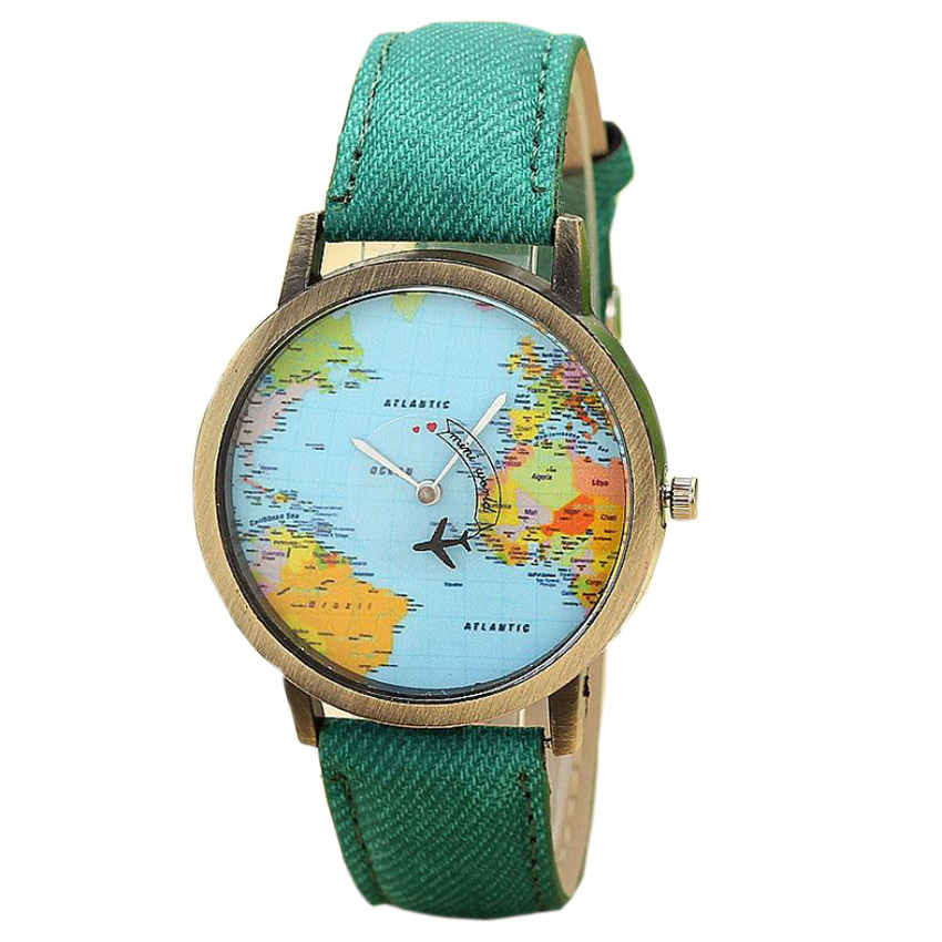 Jecksion women dress watches fashion global travel by plane map denim fabric band watch women 7colors