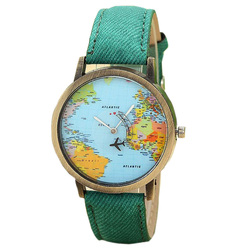 Jecksion women dress watches fashion global travel by plane map denim fabric band watch women 7colors.jpg 250x250