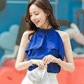 2017 Summer Korean Ruffle Sleeveless Chiffon Shirt Stand Collar Women Blouse Blue/White/Black S/M/L/XL