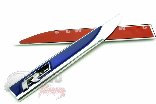 2pc blue r line fender car badge sticker for touareg scirocco golf mk3 mk5 mk7