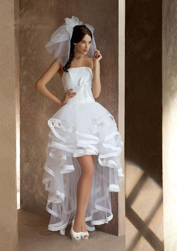 Vestido de novia High Low Beach Wedding Dresses Open Back Strapless Short in front long Bridal