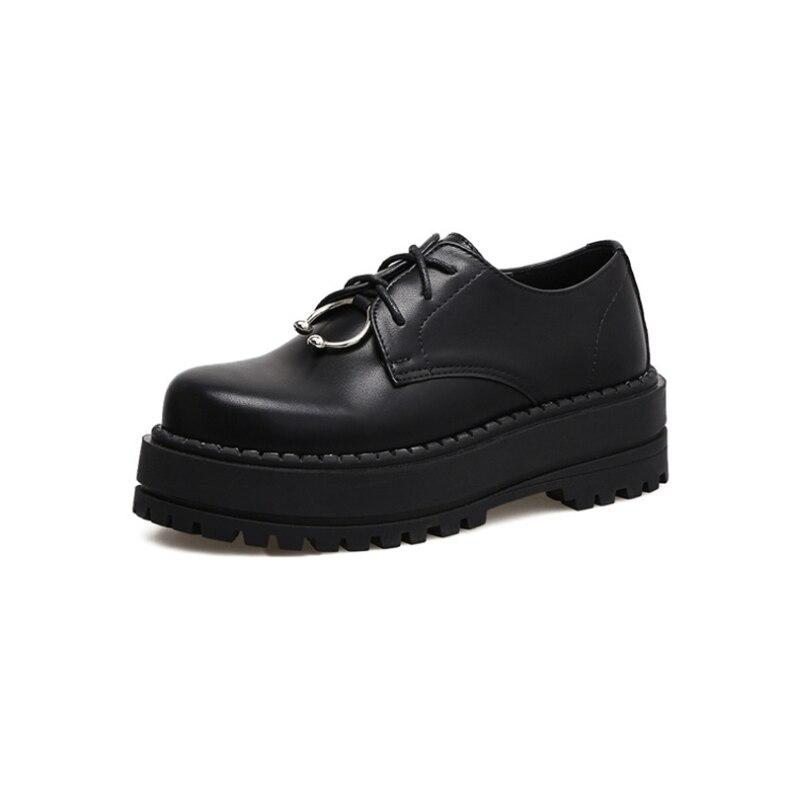 Plana black Retro Black Suelas Gruesas black Creepers Zapatos Cuero Británico De 2368 Harajuku Estilo Casual Cordones College 2325 Mujer Vintage 2391 Plataforma Con xwqnT1W8x7
