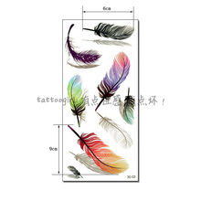 1piece Colorful 3d-03 Feather Pattern Temporary Tattoo Waterproof Transfer Body Painting Tatoo Sticker 3D Women Reality Sex Girl