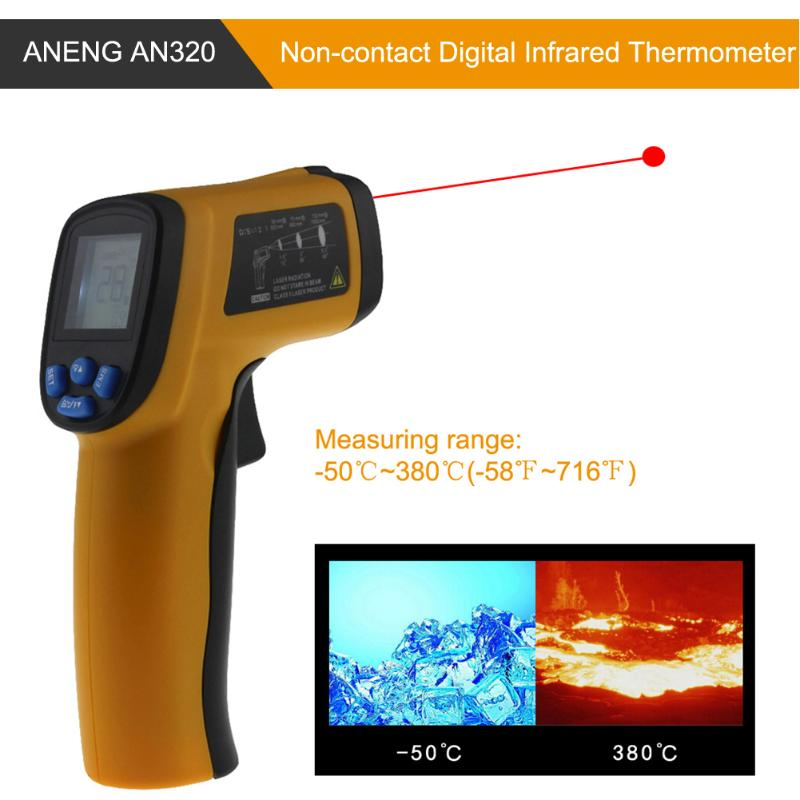 ANENG AN320 Handheld Non-contact Digital Infrared Thermometer Stable PerformanceTemperature Meter With AAA Battery Practical