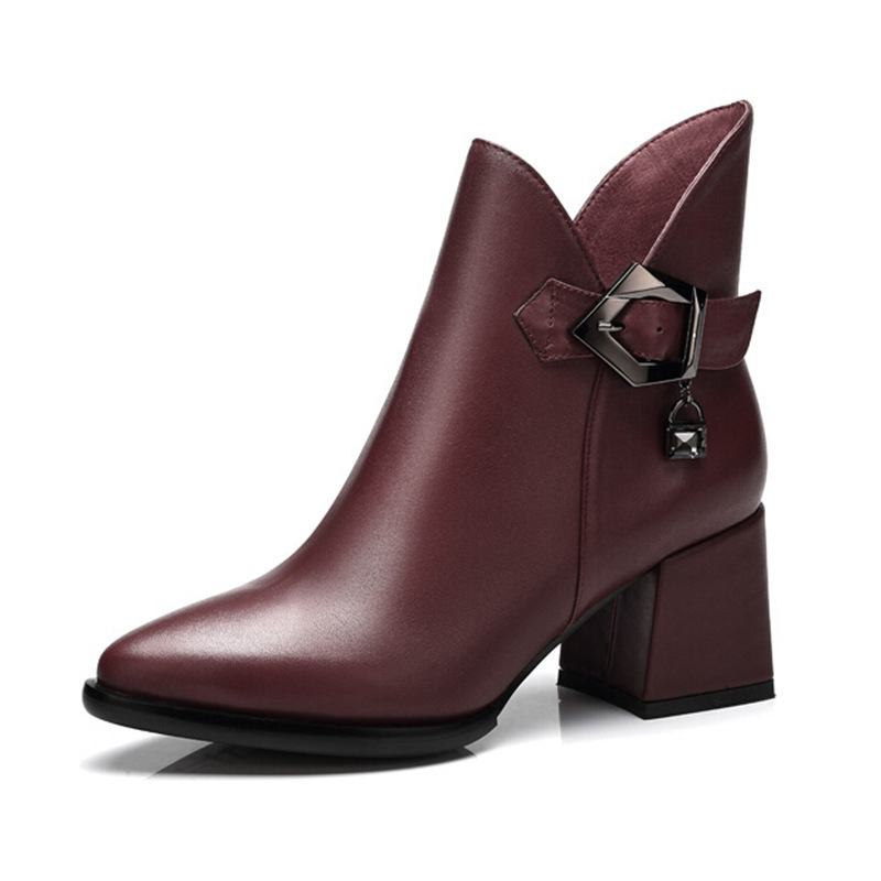 Europe and America Women Autumn Winter Thick Mid Heel Bucke Pointed Toe Side Zipper Fashion Ankle Boots Plus Size 34-42 SXQ0812 dreambox 2017 autumn and winter trends in europe and america woven leather breathable shoes in thick soled sports shoes men