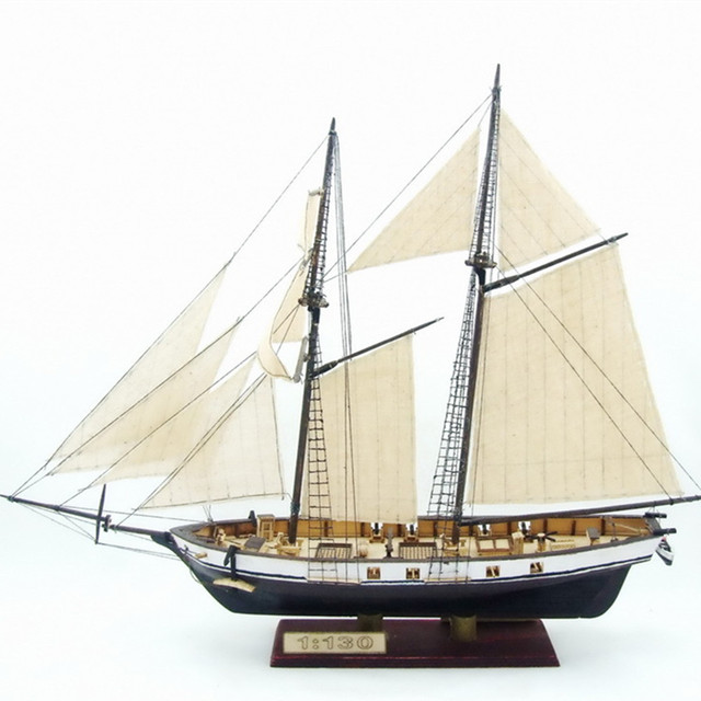 US $11 99  Wooden Scale Model Ship 1/130 Assembly Model kits Classical  Wooden Sailing Boat Model HARVEY 1847 Scale Wooden Model Ship Kits-in Model