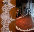 Stunning sparkly 1 T  cathedral white/ivory bling sequin lace wedding veil long bridal accessories with comb mantilla