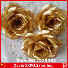NEW 100 Pcs 10CM Golden Artificial Rose Silk Decor Flower Head Decorative Flowers For Wedding Festival Bridal Decoration