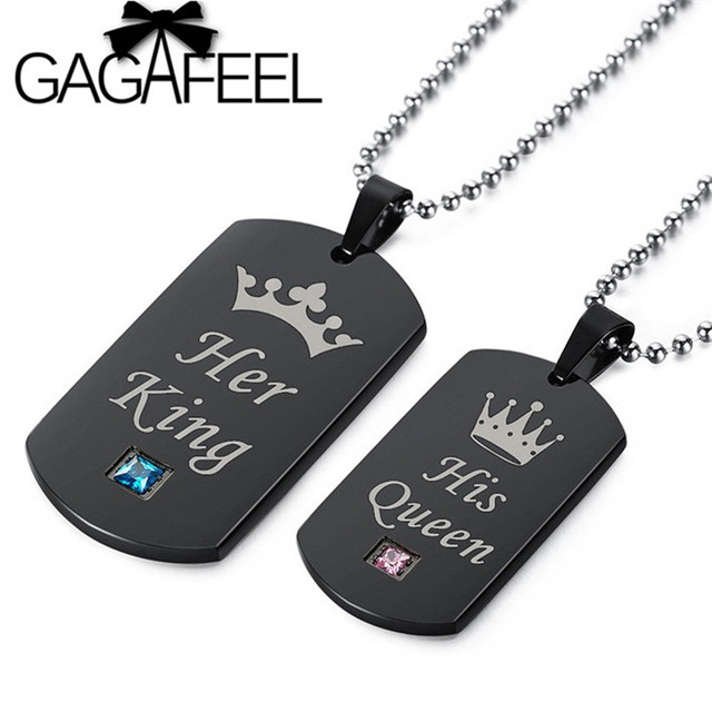 Gagafeel fashion her king his queen crown couple pendants necklaces gagafeel fashion her king his queen crown couple pendants necklaces for men women stainless steel tag aloadofball Image collections