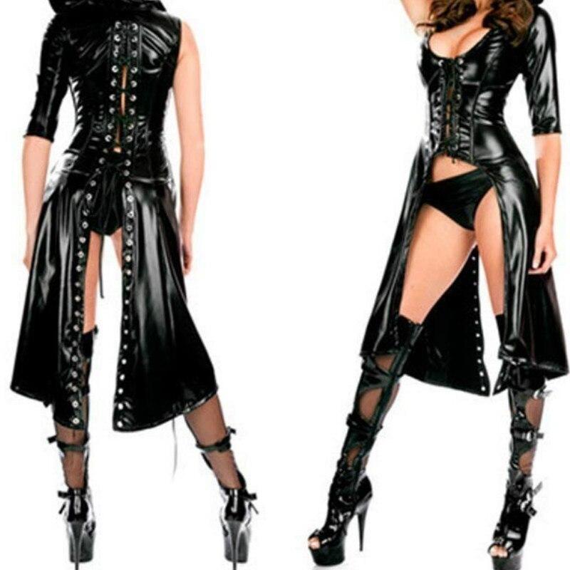 2018 Sexy Nightclub DS Jazz Costume Women Punk Gothic Fetish Dance Dress Catsuit Erotic Faux Leather Bodysuit