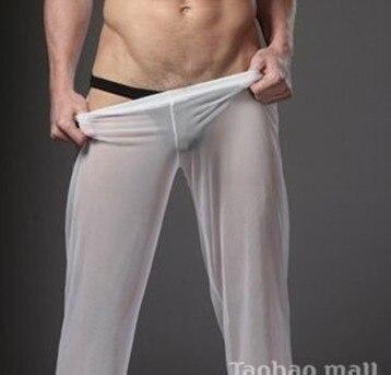 Мужской секс lounge брюки прозрачные одежды настроить утро брюки резинкой фитнес брюки летние тонкие