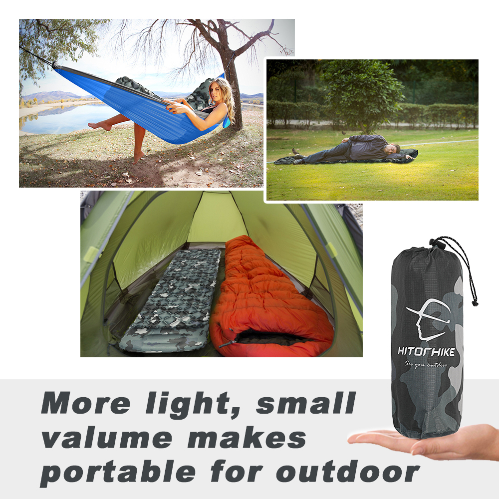 Image 5 - Hitorhike innovative sleeping pad fast filling air bag camping mat inflatable mattress with pillow life rescue 550g  cushion padCamping Mat   -