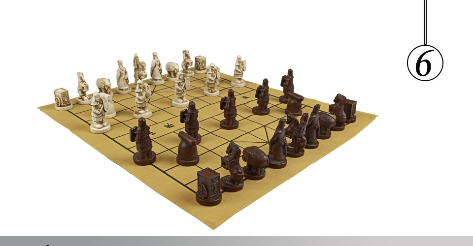Easytoday Chinese Chess Games Synthetic Leather Chessboard Chinese Terracotta Warriors Resin Chess Pieces Table Games Birthday Gift (6)