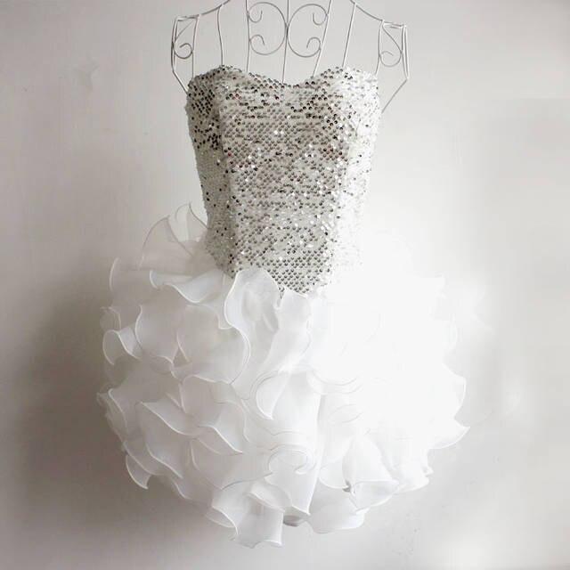 Многослойное платье для танцев с блестками и вышивкой для девочек, платье для выпускного вечера для крупных девушек, платье подружки невесты на возраст от 13 до 20 лет - Цвет: Белый