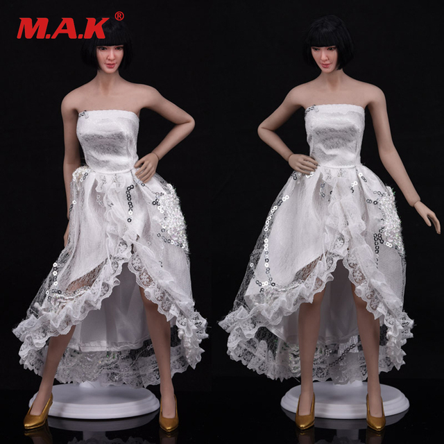 1/6 Scale Female Clothes White Evening Dress Banquet Skirt Ladies Wedding Dress For PH Verycool HT Medium & Small Body Figur