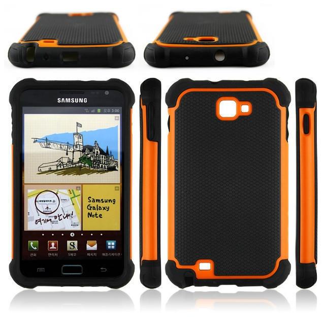 Triple Hybrid Camada de Plástico + Capa de Silicone Para Samsung Galaxy Note N7000 I9220 Telefone Tampa Traseira Capa Celular