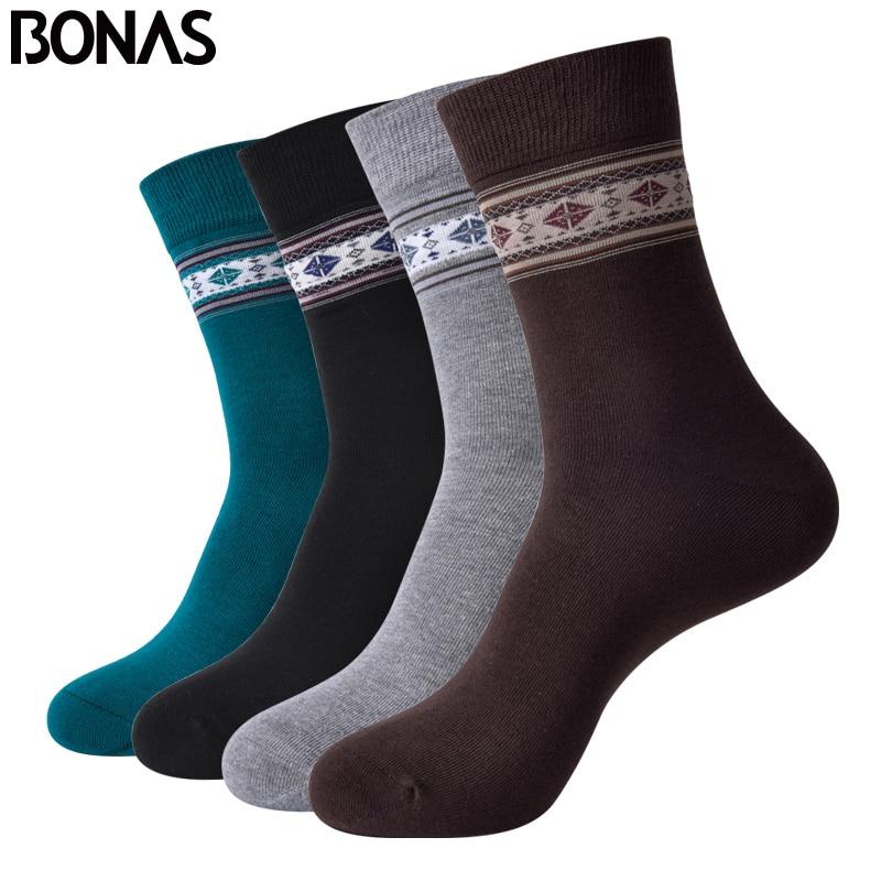 BONAS 4pairs Men Business Socks Fashion Breathable Solid Cotton Sock Bamboo Fiber Deodorant Socks Man Anti-beriberi Socks 02266
