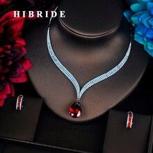 HIBRIDE יוקרה אדום מים Drop מעוקב Zirconia נשים תכשיטי סטי שרשרת סט חתונת הכלה שמלת אביזרי מסיבת להראות N 372