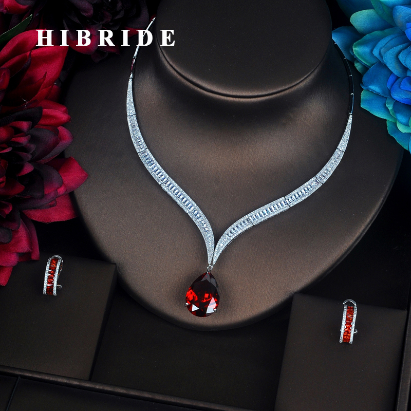 HIBRIDE Luxury Red Water Drop Cubic Zirconia Women Jewelry Sets Necklace Set Wedding Bride Dress Accessories Party Show N-372 hibride luxury top quality white green water drop shape cubic zirconia jewelry sets white gold color necklace earrings n 057