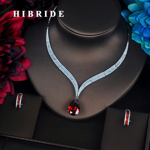 Image 1 - HIBRIDE Luxury Red Water Drop Cubic Zirconia Women Jewelry Sets Necklace Set Wedding Bride Dress Accessories Party Show N 372
