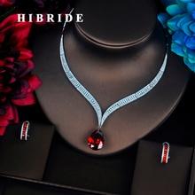 HIBRIDE Luxus Red Water Drop Zirkonia Frauen Schmuck Sets Halskette Set Hochzeit Braut Kleid Zubehör Party Zeigen N 372