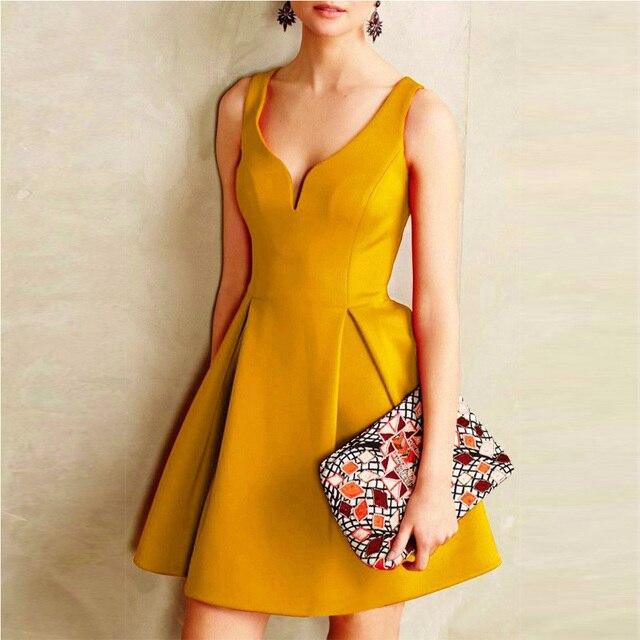 Women Dress Elegant Casual Party Dresses Red Yellow Purple Sleeveless Deep V Neck Formal Short Mini Dress 2018 Woman Dresses  3