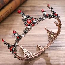 Корона Полный черный циркон цветок открытие головной убор оголовье дамы ювелирные изделия