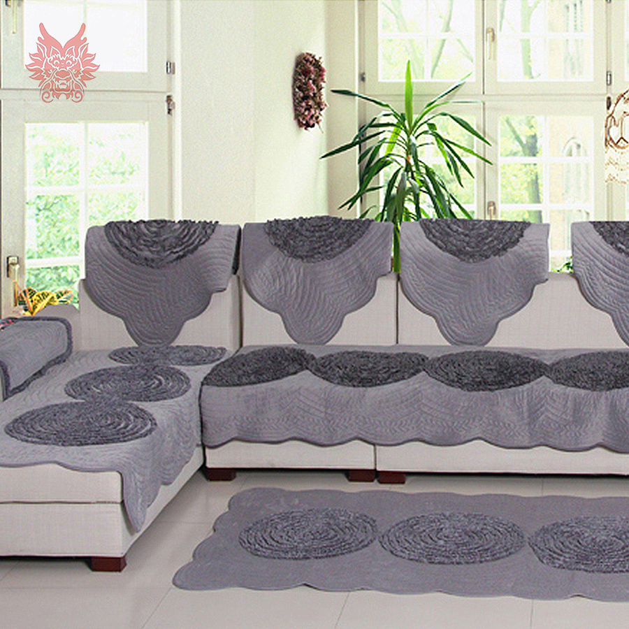 Pastoral style luxury grey beige disk floral fleece sofa for Canape sofa cover