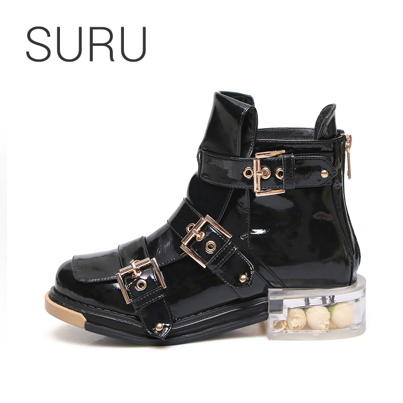 SURU Crystal Heels With Flower Strap Buckle Boots Women Leather Round Toe Ankle Booties black or beige size 34-40 large 41 42 43SURU Crystal Heels With Flower Strap Buckle Boots Women Leather Round Toe Ankle Booties black or beige size 34-40 large 41 42 43